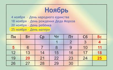 День матери 2012 какого числа отмечаем