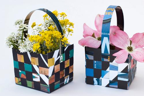 Корзинки для цветов из бумаги как сделать 357