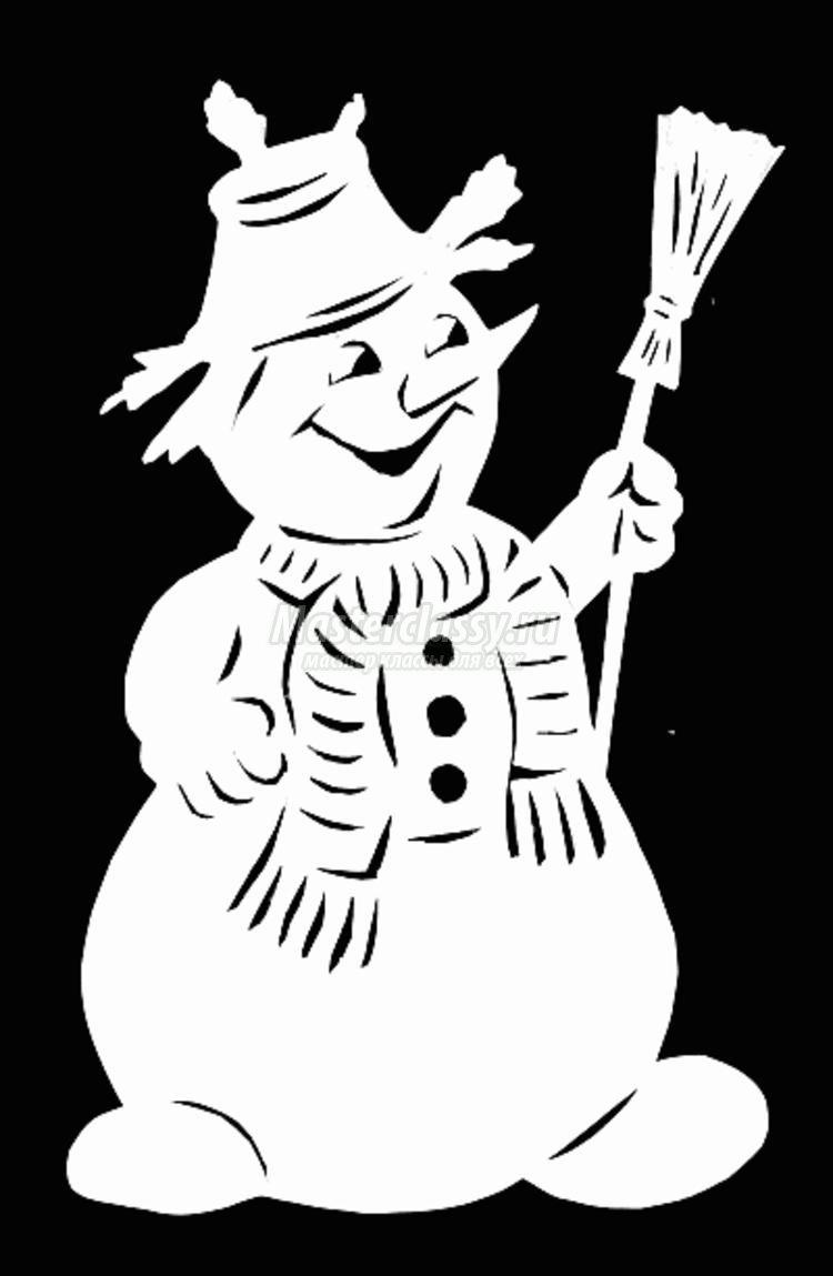 Трафареты снеговиков на новый год на окна