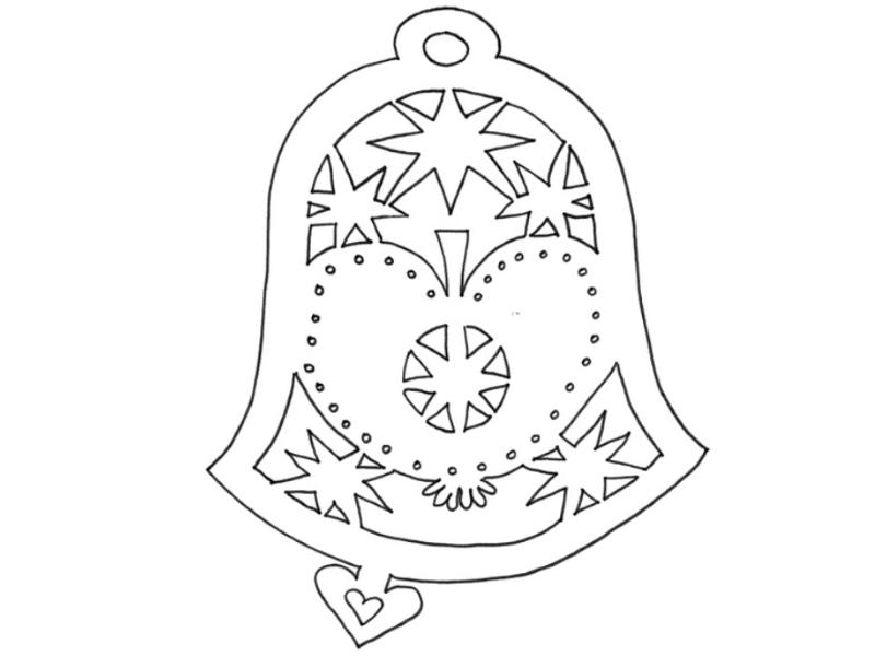 Трафарет колокольчика к новому году