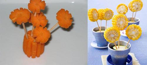 Поделки цветы из овощей и фруктов
